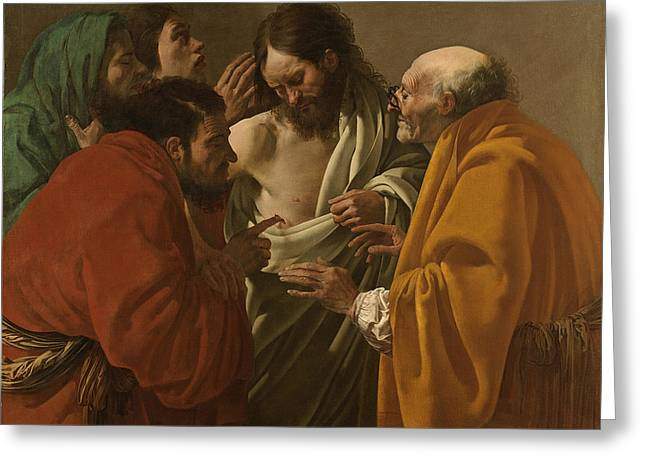 The Incredulity Of Saint Thomas Greeting Card by Hendrick ter Brugghen