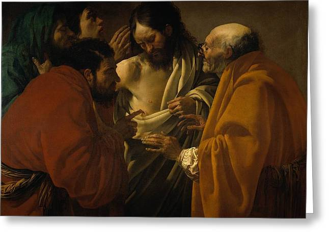 The Incredulity Of St. Thomas Greeting Card by Hendrick ter Brugghen