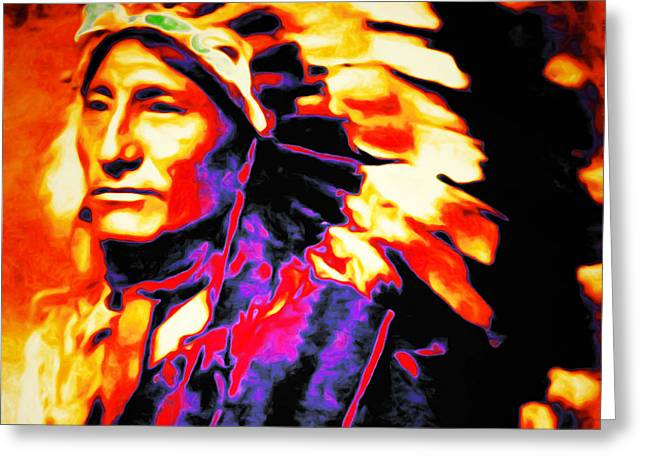 The Indian Chief 20151227 Square Greeting Card by Wingsdomain Art and Photography