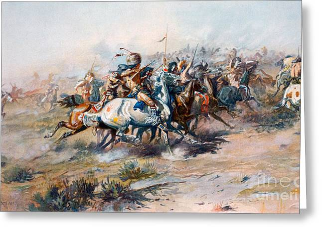 The Indian Encirclement Of General Custer At The Battle Of The Little Big Horn Greeting Card by Charles Marion Russell