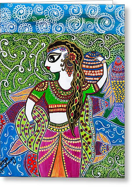 The Indian Fisher Woman Greeting Card by Anannya Chowdhury