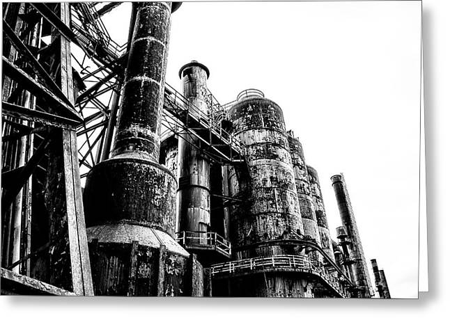 The Industrial Age At Bethlehem Steel In Black And White Greeting Card by Bill Cannon