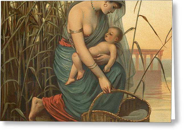 The Infant Moses And His Mother Greeting Card by Philip Richard Morris