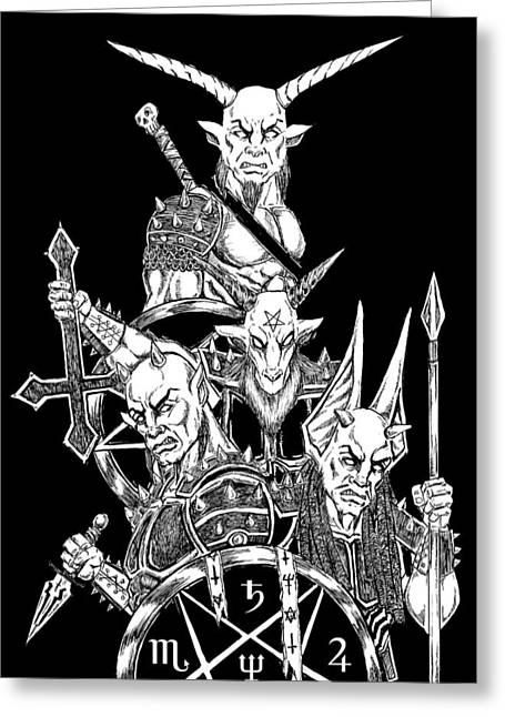 The Infernal Army Black Version Greeting Card by Alaric Barca