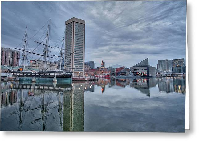 Greeting Card featuring the photograph The Inner Harbor On A Sunday Cloudy Morning by Mark Dodd