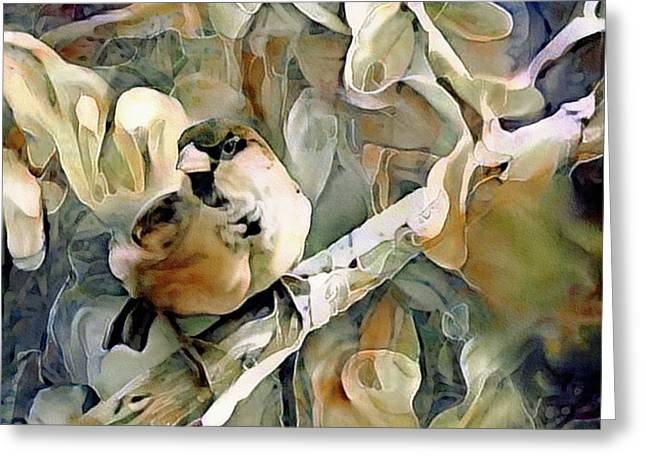 Greeting Card featuring the mixed media The Inquisitive Sparrow by Susan Maxwell Schmidt