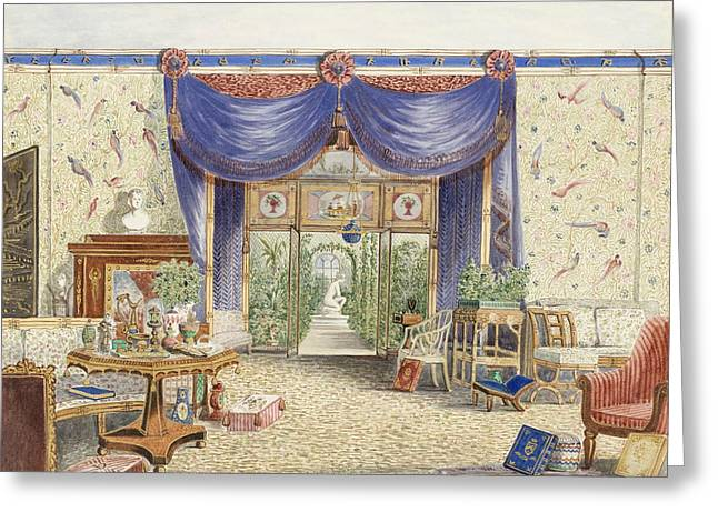 The Interior Of The Chinese Room, Looking Toward The Conservatory, Middleton Park, Oxfordshire Greeting Card