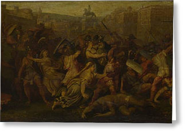 The Intervention Of The Sabine Women Greeting Card by Follower of Giulio Romano