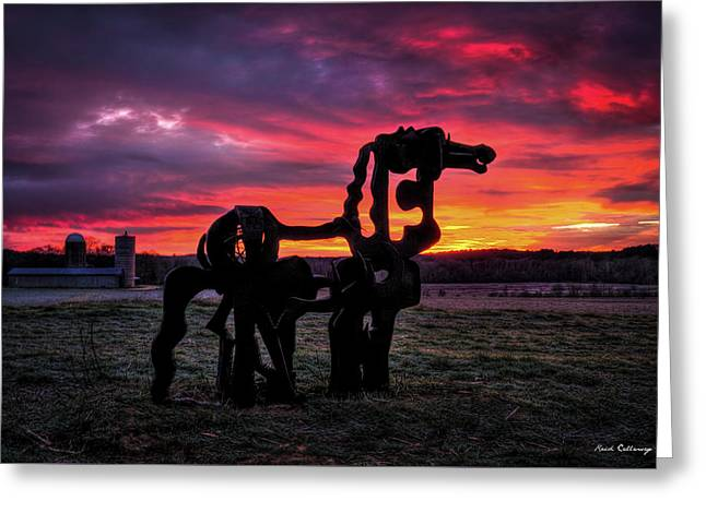 The Iron Horse Sun Up Greeting Card by Reid Callaway