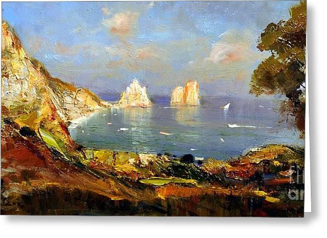 The Island Of Capri And The Faraglioni Greeting Card