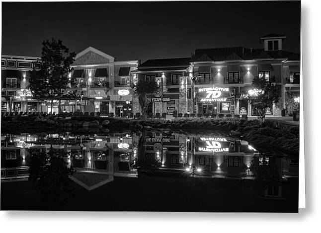 The Island Shops In Black And White Greeting Card by Greg Mimbs
