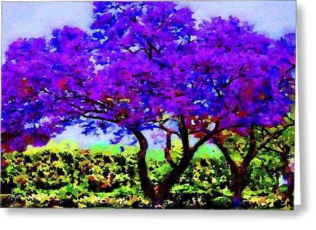 Greeting Card featuring the painting The Jacaranda by Angela Treat Lyon