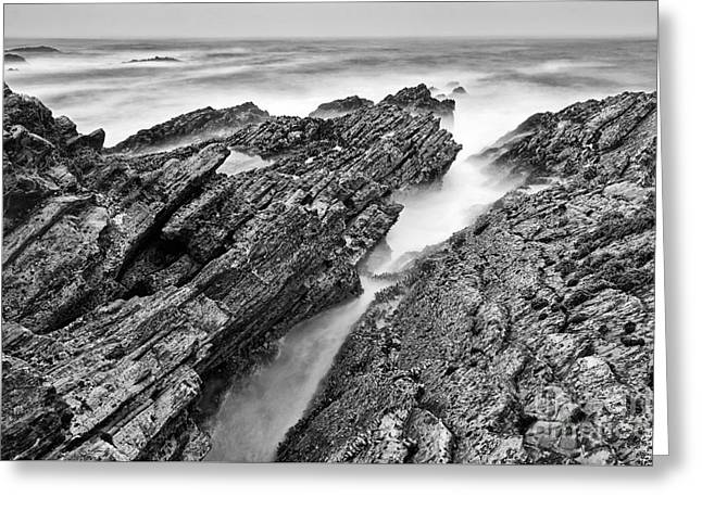 The Jagged Rocks And Cliffs Of Montana De Oro State Park In Cali Greeting Card by Jamie Pham