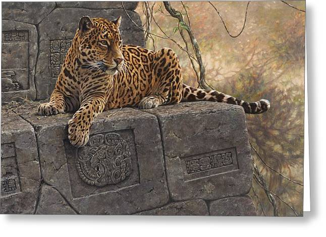 Greeting Card featuring the painting The Jaguar King by Alan M Hunt