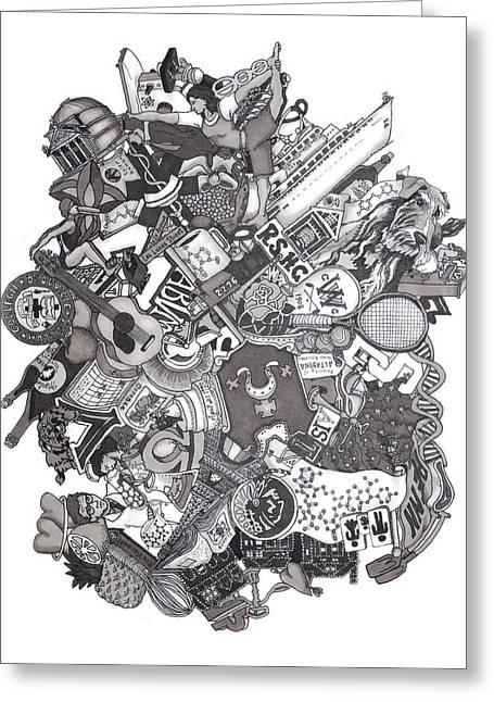 Grayscale Drawings Greeting Cards - The Januszeski Three Greeting Card by Tyler Auman
