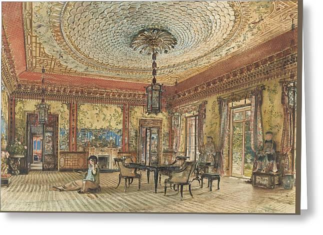 The Japanese Salon, Villa Hugel, Hietzing, Vienna Greeting Card by Rudolf von Alt