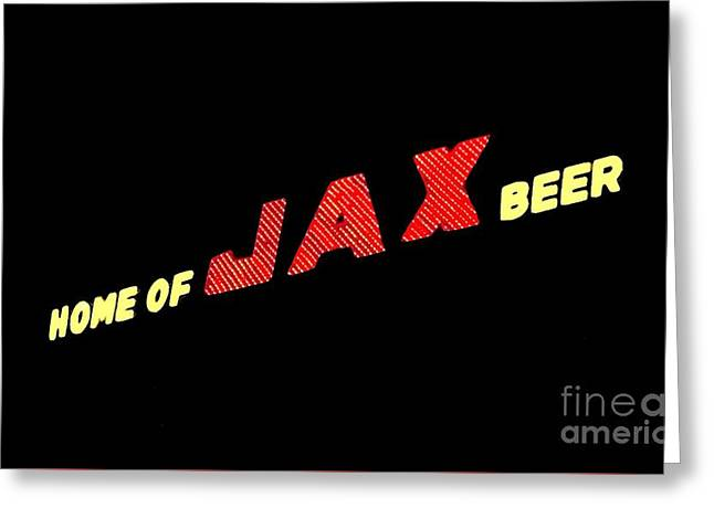 The Jax Beer Sign Artwork Greeting Card by Joseph Baril