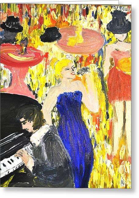 Greeting Card featuring the painting The Jazz Singer by Evelina Popilian