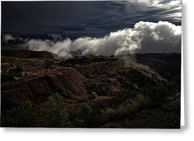 Greeting Card featuring the photograph The Jerome State Park With Low Lying Clouds After Storm by Ron Chilston