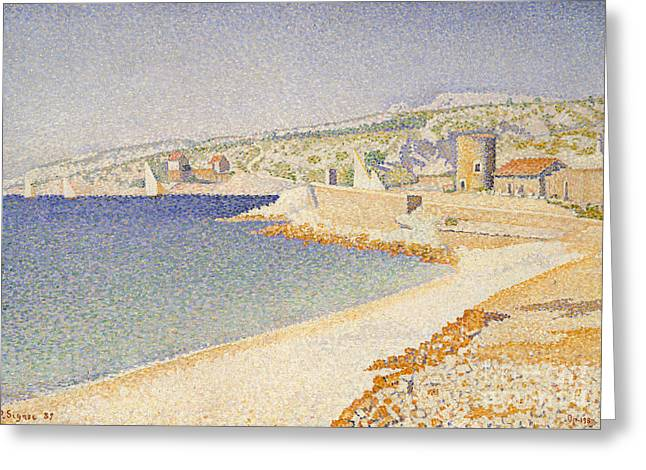 The Jetty At Cassis Greeting Card by Paul Signac