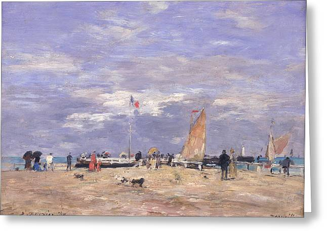 The Jetty At Deauville Greeting Card by Eugene Louis Boudin