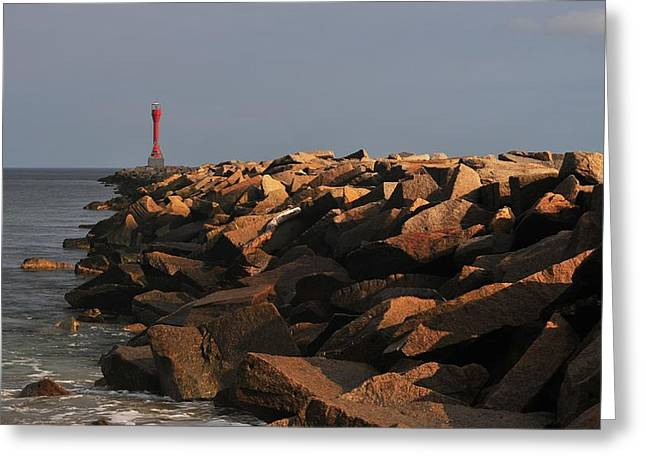 The Jetty At Scusset Beach Greeting Card by Bill Driscoll