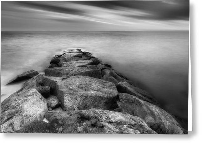 The Jetty Bw Greeting Card by Bill Wakeley