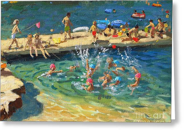The Jetty, Rovinj, Croatia Greeting Card by Andrew Macara