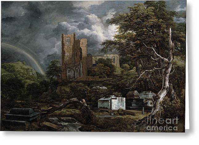 The Jewish Cemetery Greeting Card by Jacob Isaaksz Ruisdael