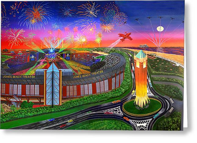 The Jones Beach Theatre With Fireworks Greeting Card by Bonnie Siracusa