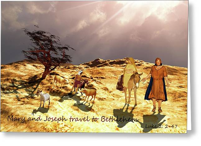 Greeting Card featuring the painting The Journey To Bethlehem by Valerie Anne Kelly