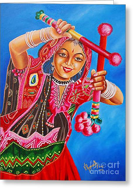 Greeting Card featuring the painting The Joy Of Life by Ragunath Venkatraman