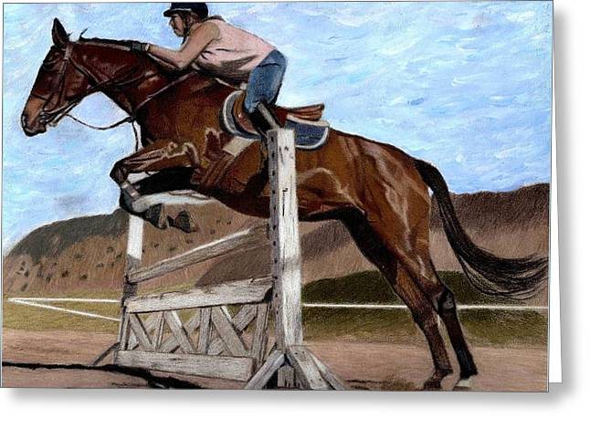 The Jumper - Horse And Rider Painting Greeting Card