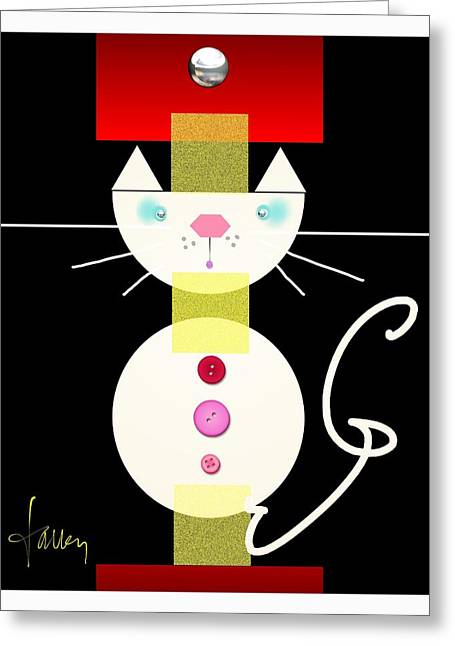 Greeting Card featuring the mixed media The Junk Drawer Cat by Larry Talley