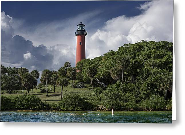The Jupiter Inlet Lighthouse Greeting Card by Laura Fasulo