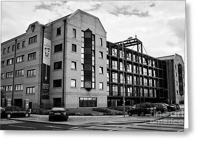 the keel apartments building converted from commercial property queens dock Liverpool Merseyside UK Greeting Card by Joe Fox