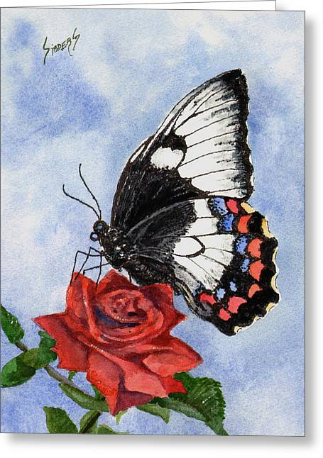 Greeting Card featuring the painting The Keeper Of The Rose by Sam Sidders