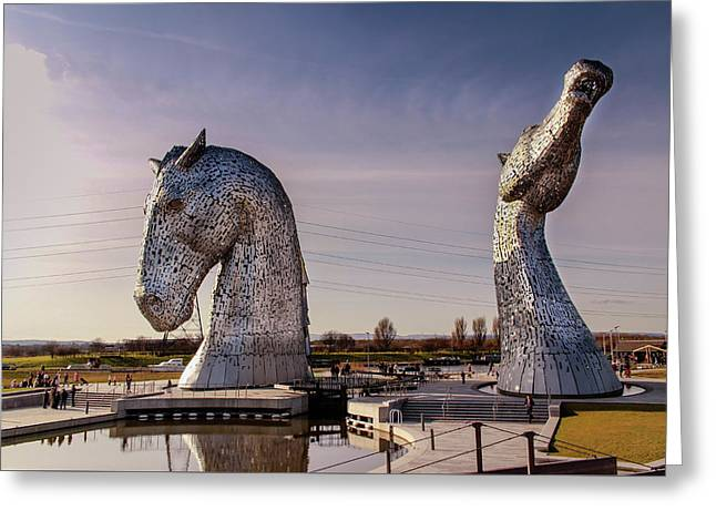 Greeting Card featuring the photograph The Kelpies by RKAB Works