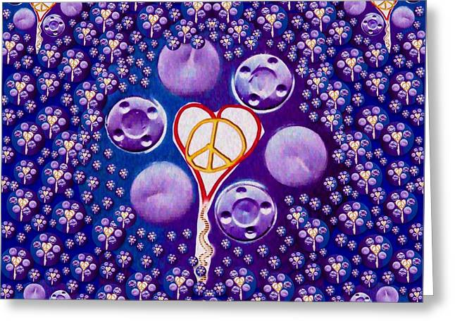 The Key To Love Is Peace And Love Popart Greeting Card by Pepita Selles