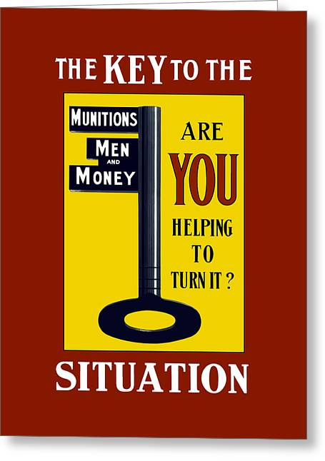 The Key To The Situation - Ww1 Greeting Card by War Is Hell Store
