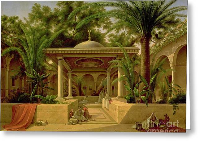 The Khabanija Fountain In Cairo Greeting Card by Grigory Tchernezov