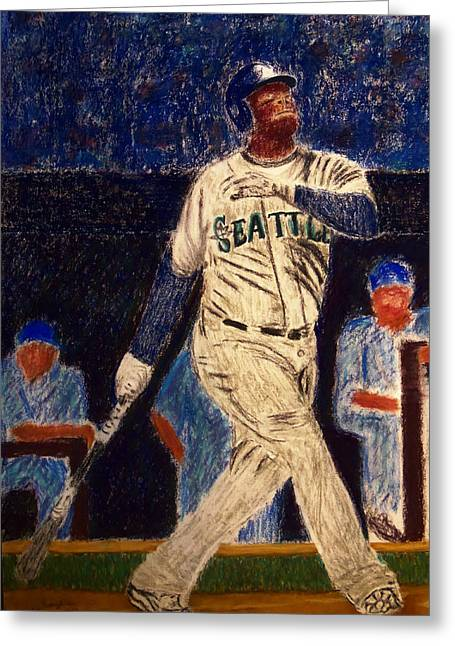 Baseball Pastels Greeting Cards - The Kid feat Ken Griffey Jr Greeting Card by D Rogale