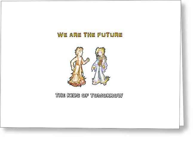 Greeting Card featuring the digital art The Kids Of Tomorrow Corie And Albert by Shawn Dall