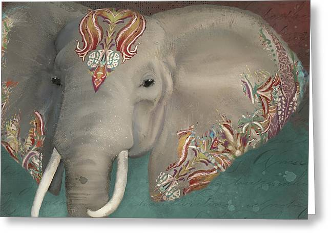 Greeting Card featuring the painting The King - African Bull Elephant - Kashmir Paisley Tribal Pattern Safari Home Decor by Audrey Jeanne Roberts