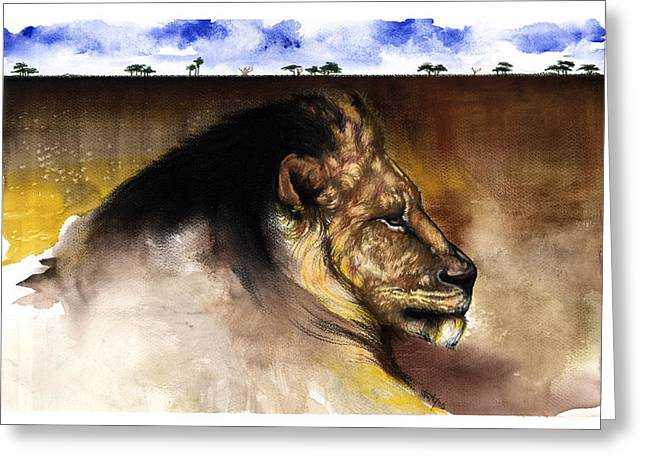 African-american Mixed Media Greeting Cards - The King Greeting Card by Anthony Burks Sr