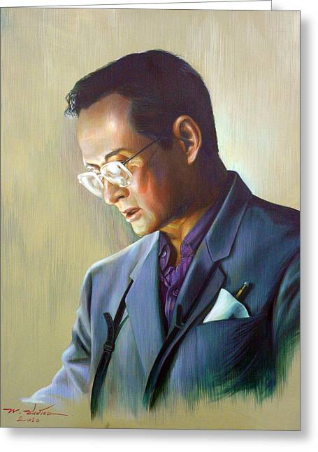 Greeting Card featuring the painting The King Of Thailand by Chonkhet Phanwichien