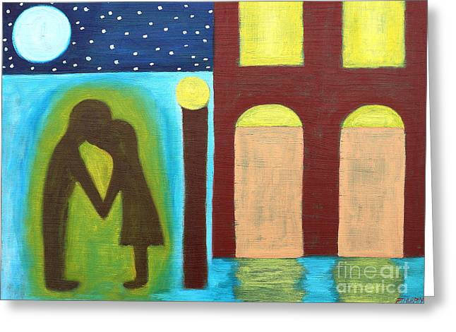 The Kiss Goodnight Greeting Card by Patrick J Murphy