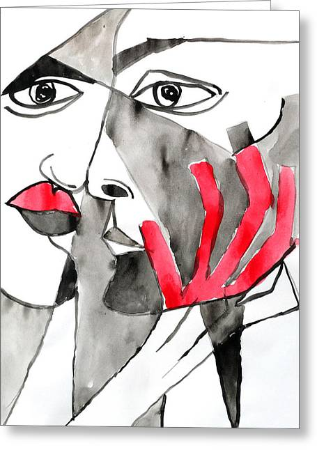 The Kiss In Red Greeting Card by Jorge Berlato
