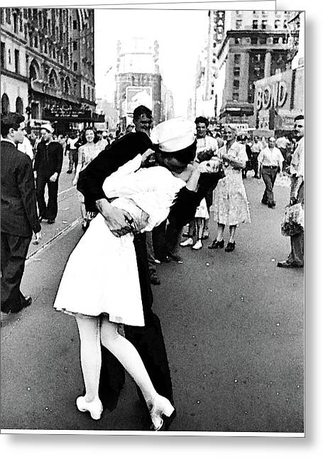 The Kiss,  V J Day Times Square Watercolor Ink Greeting Card