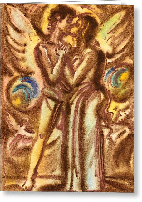 Emotions Pastels Greeting Cards - The Kiss  Greeting Card by Vasile Movileanu